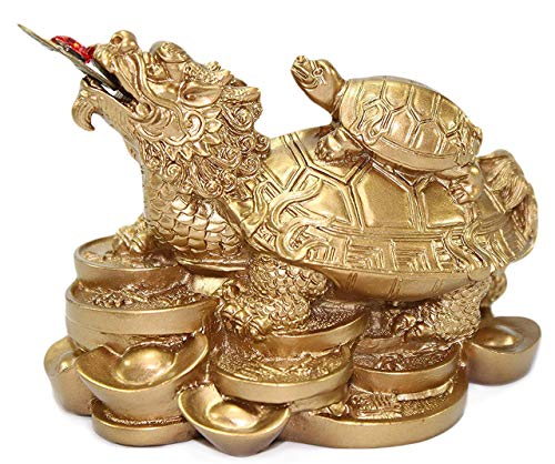 Feng Shui Gold Dragon Turtle Wealth Protection Statue Figurine Housewarming Congratulatory Paperweights Gift Home Decor US Seller