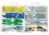 Qualihome Anchor Assortment Kit   Anchors, Molly Bolts, Screws, Toggle Bolts, Wings for Drywall, Hollow Wall, Plaster, Tile   Heavy Duty Masonry Set