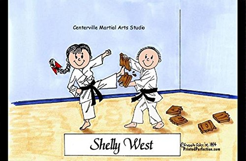 Personalized Friendly Folks Cartoon Side Slide Frame Gift: Karate - Male & Female Great for martial arts, tae kwon do Female Karate Figure