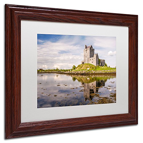 Trademark Fine Art Dunguaire Castle Ireland White Matte Archival Paper Artwork by Pierre Leclerc, 11 by 14-Inch, Wood Frame