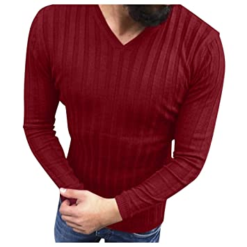 Herren V Ausschnitt Pullover Sweatshirt Sweater