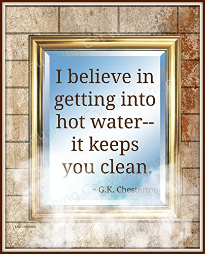 Funny Bathroom print Funny quote Inspirational poster Hot Water Art Positivity Positive Typographic Cool