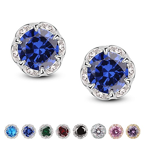 Jardme Crown Shape Crystal Round Earring Stud White Cubic Zircon Earring Stud For Party, Evening (deep blue)