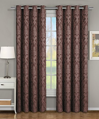 Blair Chocolate Top Grommet Jacquard Window Curtain Panel, Set of 2 Panels, 108x63 Inches Pair, by Royal Hotel
