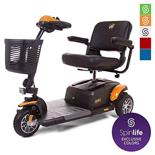 BUZZAROUND EX 3-Wheel Heavy Duty Long Range Travel Scooter w/ 3 Year in Home Service Plan, Orange, 20-Inch Seat