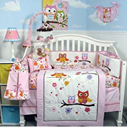 SoHo Pink Dancing Owl Baby Girl Crib Nursery Bedding Set with Diaper bag 14 pcs set