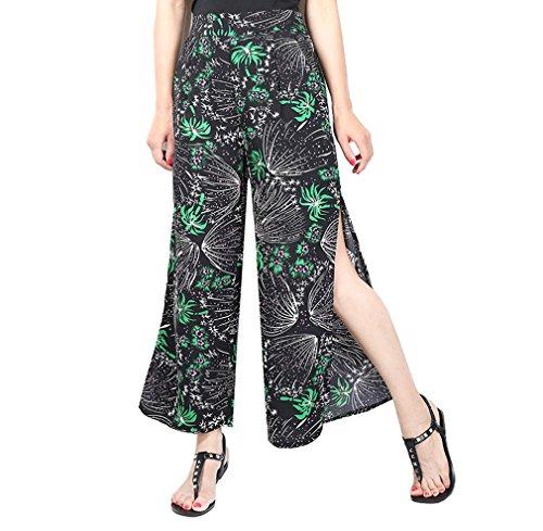 De Large Acvip Imprimé Avec Voyage Taille Plage Pantalon Femme Poche Pour Elastique J Haute Jambe Casual qzHFt