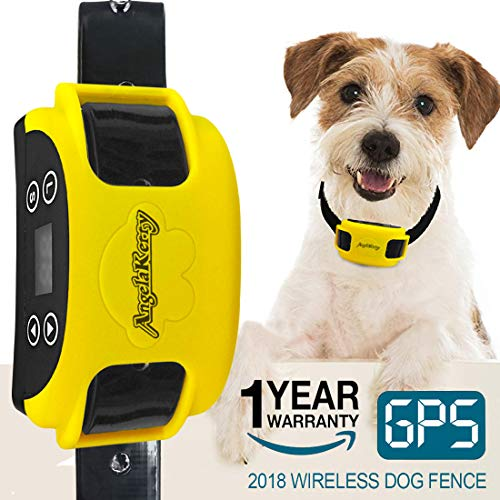 AngelaKerry Wireless Dog Fence System with GPS, Outdoor Invisible Pet Containment System Rechargeable Waterproof Collar EF 851S Remote for 15lbs-120lbs Dogs (1pc GPS Receiver by 1 Dog)