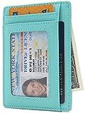 Leather RFID Blocking Minimalist Credit Card Holder Slim Front Pocket Wallets for Men & Women