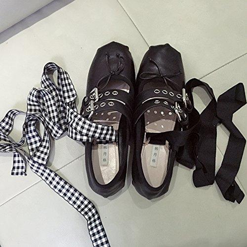 GAOLIM Solo Zapatos Femeninos Zapatos De Ballet Piso Verano Boca Superficial Zapatos De Baile Zapatos De Mujer Correa Negro