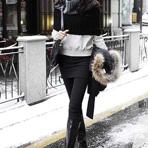 Stylish Autumn Winter Elastic Thicken Cotton Slim-Fitting Womens Pantskirt Ninth Pants Leggings Black Free Size