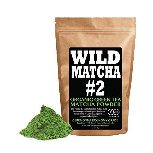 Organic Matcha Green Tea Powder, Wild Matcha #2 Ceremonial Grade, Authentic Japanese Matcha Grown in The Mountains, JAS Certified Organic (4oz Bulk Ceremonial) by Wild Foods