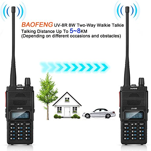 Two Way Radio, Baofeng UV-8R (Upgraded UV-5R) 8-Watt Ham Radio Transceiver Walkie Talkies Dual Band (136-174MHz VHF & 400-520MHz UHF), VOX Function with Earpiece, Extended Antenna & 2000mah Battery by BaoFeng (Image #2)