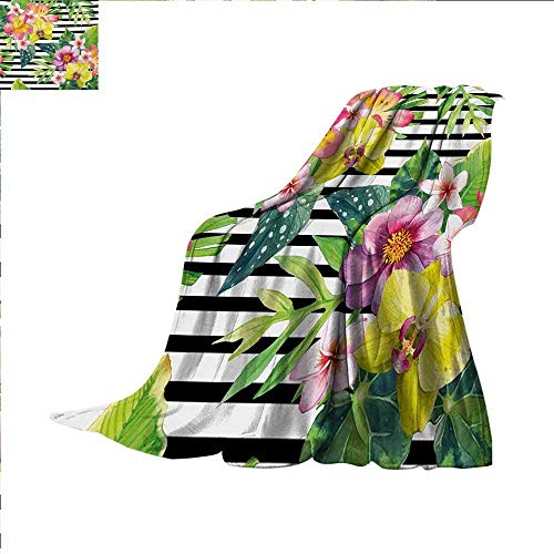 - PENGTU Floral Super Soft Lightweight Blanket Bouquet with Lily Dahlia Palm Begonia Leaves Orchid Flowers on a Striped Background Oversized Travel Throw Cover Blanket 70 x 60 inch Multicolor