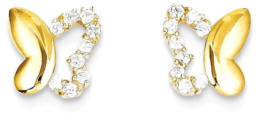 ICE CARATS 14k Yellow Gold Cubic Zirconia Cz Butterfly Baby Post Stud Earrings Animal Fine Jewelry Gift Set For Women Heart