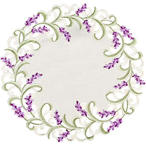 BANBERRY DESIGNS Embroidered Doilie with Lavender Lilac Flowers on Cream 16 Inch Diameter, Machine Washable ()