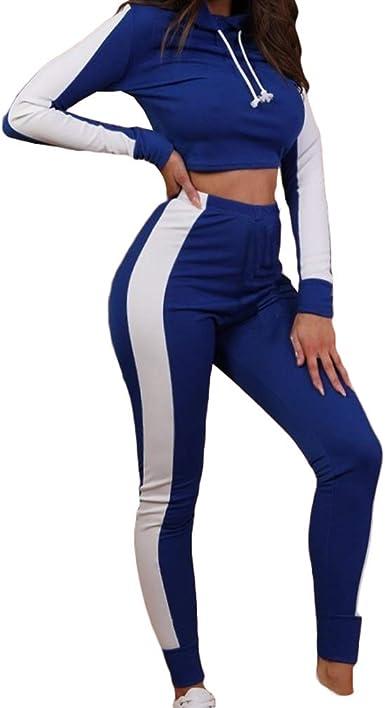 Mujeres Sport Crop Tops Pantalones Conjuntos Casual 2 Piezas ...