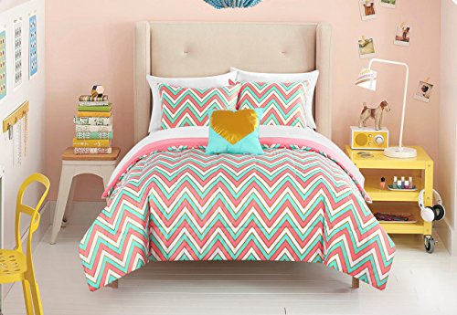 Pop Shop Gilded Chevron Bed in a Bag Comforter Set, Twin, Multicolor ()