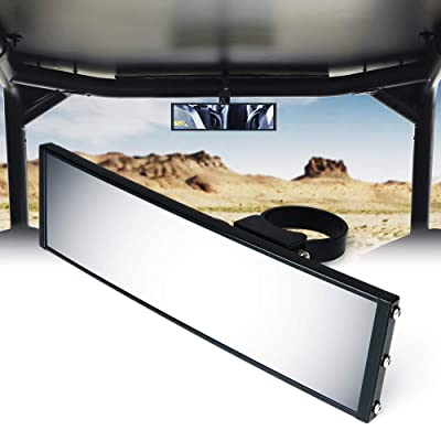"Xprite Aluminum 9"" Curved Rear View Center Tempered Glass Mirror fits 1.75"" to 1.85"" Rollbars for Offroad UTV ATV Polaris RZR 800 1000 S 900 XP 1000 Can Am Maverick X3: Automotive"