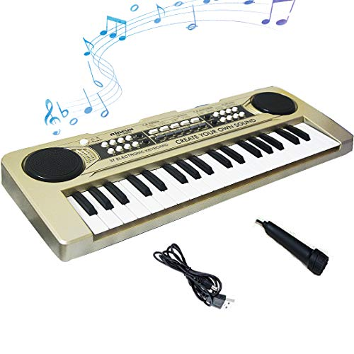 FillADream Kids Piano, 37 Keys Multi-Function Electronic Organ Musical Kids Piano Teaching Keyboard with MP3 Music Function for Kids Children Birthday (Gold, with MP3 Function)