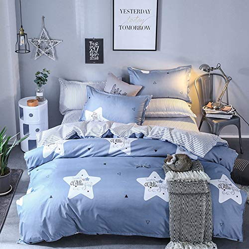 Blue Pattern Duvet Cover Set Printed Star King Size 3 Pieces - 1 Comforter Cover, 2 Pillowcases - Lightweight Microfiber Quilt Case Zipper Closure - Reversible Striped Hypoallergenic Summer Bedding