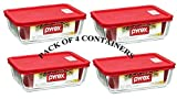 6 cup container - PYREX Containers Simply Store 6-cup Rectangular Glass Food Storage Red Plastic Covers ... (Pack of 4 Containers)