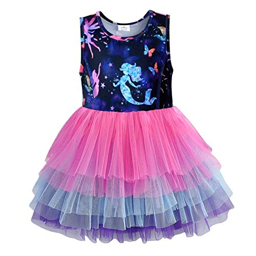 VIKITA Girls Summer Cute Sundress Short Sleeve Casual Cotton Dress SH4593 4T