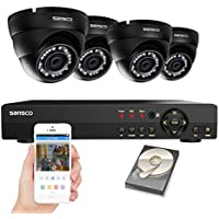 SANSCO CCTV Security Camera System with 8-Channel 1080N Smart DVR, 4 Dome Cameras (All HD 720p 1MP), and 1TB Internal Hard Drive Disk - All-in-One Surveillance Kit