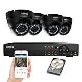 SANSCO 8-Channel 1080N DVR Recorder CCTV Security System with 4x Super HD 1MP Outdoor Cameras and 1TB Hard Drive (1280×720 Dome Cam, Rapid USB Storage Backup,Vandal and Water-Proof Body)