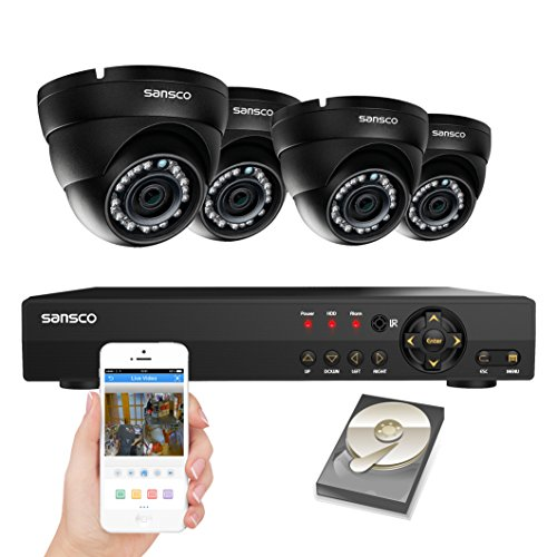 SANSCO 8-Channel 1080N DVR Recorder CCTV Security System with 4x Super HD 1MP Outdoor Cameras and 1TB Hard Drive (1280x720 Dome Cam, Rapid USB Storage Backup,Vandal and Water-Proof Body)