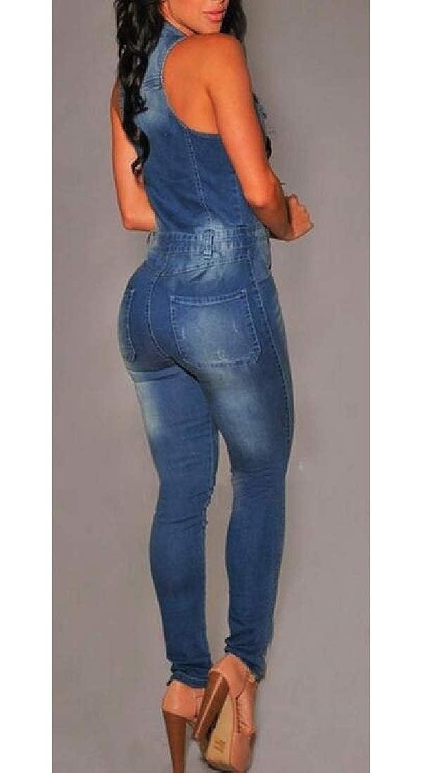 omniscient Women Classic Fit Zipper Denim Button Down Sleeveless Long Jumpsuit