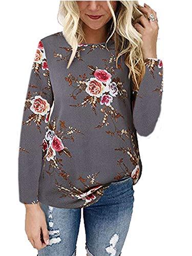 kigod Women's Comfortable O Neck Floral Print T-Shirt Top Blouse Chiffon Long Sleeve Tops (Grey, Medium)