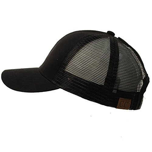 (C.C Ponytail Messy Buns Trucker Ponycaps Plain Baseball Visor Cap Dad Hat Black)