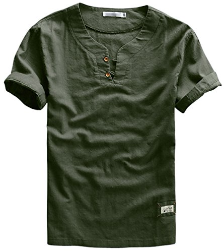 utcoco Men's Vintage Short Sleeve Cotton-Linen Casual Henley Shirts (Large, Army (Khaki Green Color)