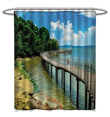 Anhuthree Coastal Shower Curtain Customized Boardwalk on The Bridge Singapore Island Rural View Sandy Beach Summertime Fabric Bathroom Set with Hooks W69 x L75 Green Blue Brown ()