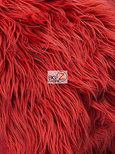 Big Z Fabric Faux Fake Fur Solid Mongolian Long Pile Fabric Sold by The Yard DIY Coats Costumes Scarfs Rugs Accessories Fashion (Red)