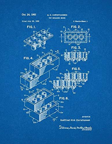 "Lego Toy Building Block Patent Print Blueprint (11"" x 14"") M10203"