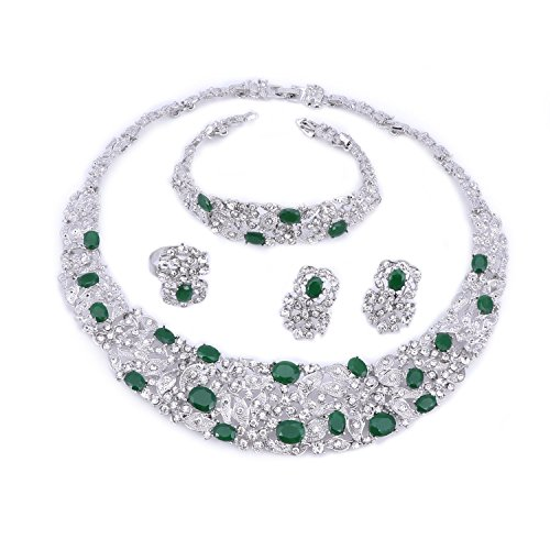(OUHE Green Crystal Chain Necklace Ring Bracelet Jewelry Set Costume Show Wedding Silver Plated)
