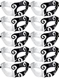 10pcs Set Mardi Gras Half Masquerades Venetian Masks Costumes Party Accessory (2-Silver&Black)