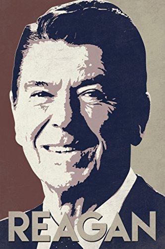 President Ronald Reagan Pop Art Portrait Republican Politics Politician POTUS Tan Poster 12x18 inch