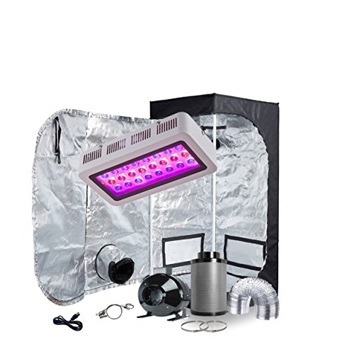 TopoGrow LED Grow Light Tent Kit Complete Package LED 300W Grow Light +24''X24''X48'' Indoor Grow Tent +4'' Inline Fan Carbon Filter 25FT Ducting Clips Combo Indoor Hydroponic Growing System by TopoGrow