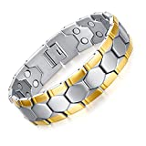 """JFUME 18K Gold Dual Magnets Natural Pain Relief Link Bracelet For Arthritis and Joint Pain,Men 8.5"""""""
