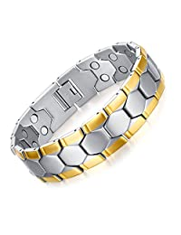 JFUME 18K Gold Dual Magnets Natural Pain Relief Link Bracelet For Arthritis and Joint Pain,Men 8.5""