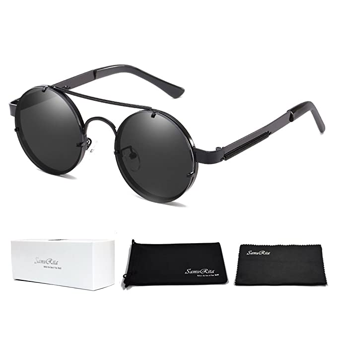 322f189a1014c SamuRita Spring Temple Rimless Oversized Punk Round Sunglasses(Black Lens Black  Frame)