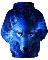 GLUDEAR Unisex Realistic 3D Digital Print Pullover Hoodie Hooded Sweatshirt,Blue Wolf,L/XL