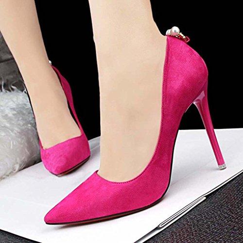 Pointu Rose OALEEN Soirée Chaussures Perles Femme Bout Aiguille Suède Escarpins fushia Talon Haut OL Rrq7rwt