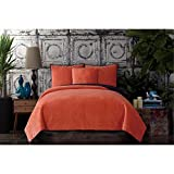 Poetic Wanderlust by Tracy Porter BQ2091CMFQ-4400 Solid Reversible Velvet Coverlet, Full/Queen, Apricot Orange and Eggplant Purple
