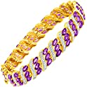 Finecraft 7 3/4 ct Amethyst Bracelet w/ Diamonds Brass