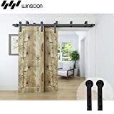WINSOON Bypass Sliding Barn Wood Door Hardware Interior Sliding Closet Door Bracket Black Rustic Sliding Track Kit (8FT Bypass Kit)