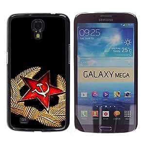 TopCaseStore / la caja del caucho duro de la cubierta de protección de la piel - Black Red Medal Star Cap Russia - Samsung Galaxy Mega 6.3 I9200 SGH-i527